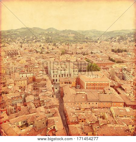 View of Bologna. Italy. Old style photo.