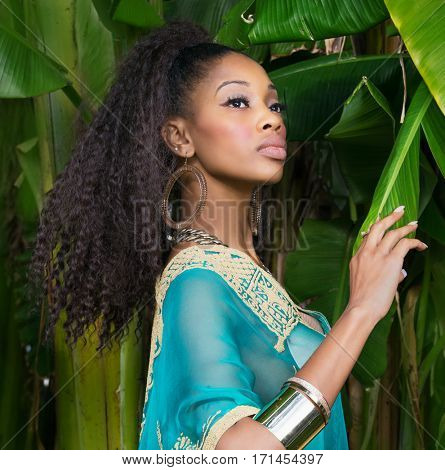 Beautiful African American model wearing tunic dress