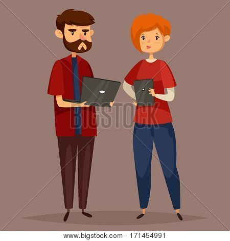 Man with notebook and woman with tablet at work of system administrator or computer technology engineer. Male and female programmers or online support workers at office. People at workplace theme