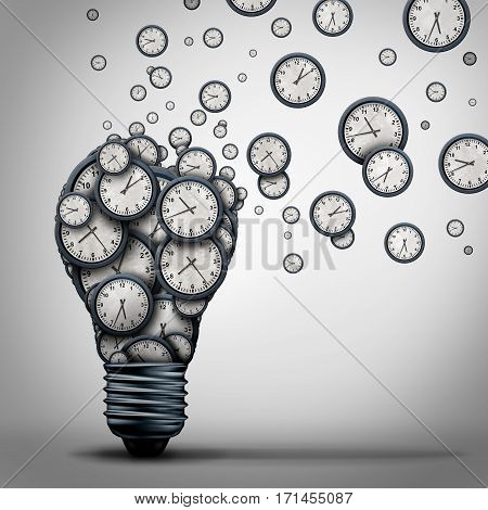 Time marketing idea business training education concept as a group of clock objects shaped as a light bulb that is spreading and communicating schedule planning and deadline management learning as a 3D illustration.