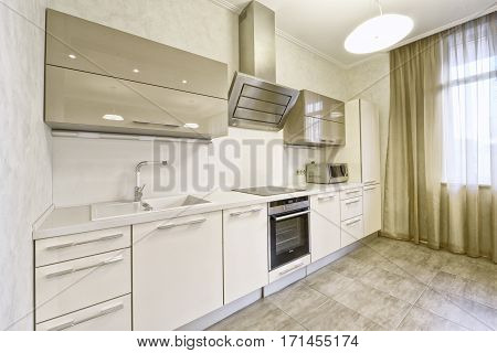Russia, Moscow region - the interior design of the kitchen in a luxury new apartment