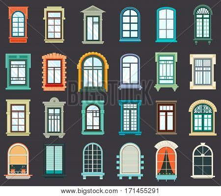 Old or retro room or house wood window frames exterior view. House wall wooden or plastic windows with pots or vase and curtains. Outdoor view on architecture design, vintage decorative arches