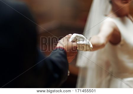 Elegant Stylish Groom Holding Gently Hand Of Gorgeous Bride Close Up. Unusual Luxury  Wedding Couple
