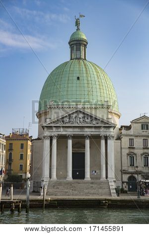 VENICE; NOVEMBER 3:  San Simeone Piccolo church cupola in Venice Italy on November 3, 2014