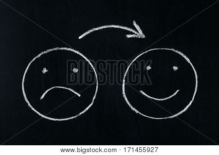 Handing drawing faces emotions on blackboard.Changing mood from bad to good.