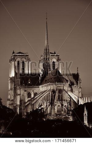 Notre Dame de Paris at dusk as the famous city landmark.
