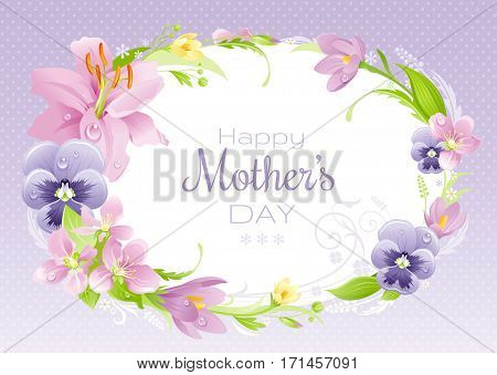 Spring background. Happy Mothers day flyer. Flower frame lily, pansy, crocus, cherry. Isolated wreath. Nature border, flat vector illustration. Cute mom banner. Mother greeting card text lettering