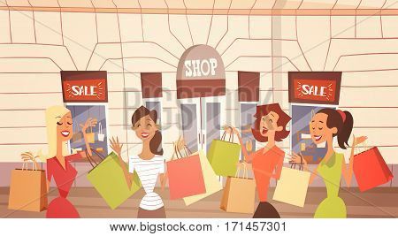 Cartoon Woman Group With Shopping Bag Big Sale Banner Retial Store Exterior Flat Vector Illustration