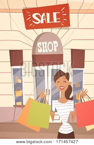 Cartoon Woman With Shopping Bag Big Sale Banner Retial Store Exterior Flat Vector Illustration