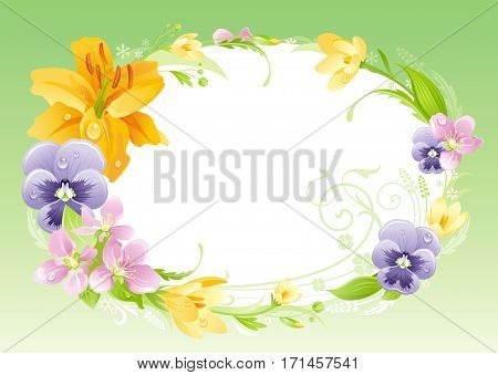 Spring summer banner. Easter, Mothers day, Birthday, Anniversary, Wedding invitation. Flower frame lily, pansy, leaves. Isolated wreath. Nature border, background vector illustration. Greeting card