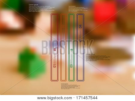 Illustration infographic template with motif of color bar vertically divided to four long standalone sections created by double outlines. Blurred photo with money motif is used as background.