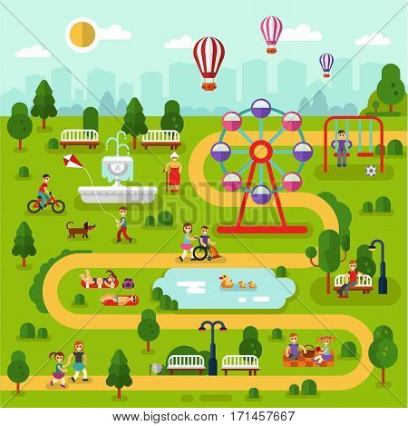 Flat design vector landscape illustration of park map. People rest in the park, sunbathing, ride on bikes, picnic, disabled men and old woman walking. Pond with ducks, swing, fountain, ferris wheel.