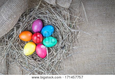 Colorful easter hen eggs in hay on sackcloth backround. Easter eggs in straw nest