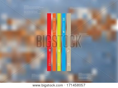 Illustration infographic template with motif of color bar vertically divided to four long standalone sections. Blurred photo with motif of worn textured board is used as background.