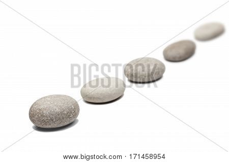 round stones isolated on white abstract background
