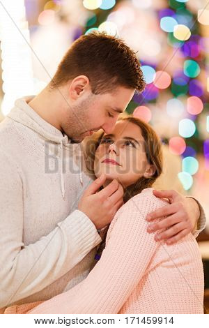 Photo of beautiful happy couple in love at room