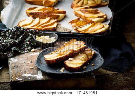 pears crostini . . . selective focus