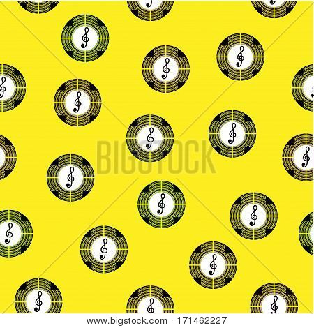 Seamless pattern with symbols of different colors on a yellow background