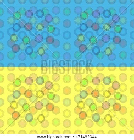 Seamless pattern of colorful balloons on a yellow and blue background
