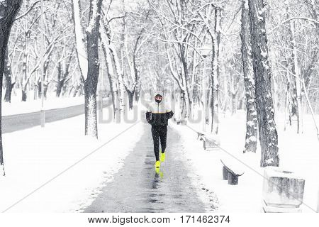 Jogging no matter how cold it is.