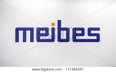 Moscow, Russia - February, 2016: Meibes Sanitary Engineering logo. Sticker letters on the white wall