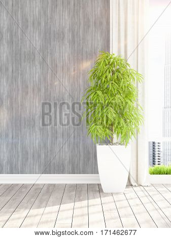 Beautiful empty modern living room interior with plant. 3D rendering