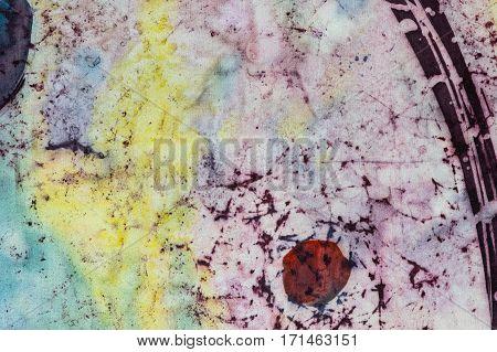 Abstraction, Fragment, Hot Batik, Background Texture, Handmade On Silk,  Abstract Surrealism Art