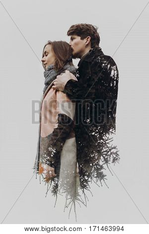 Double Exposure With Romantic Couple And Tree Branches In Autumn Park. Sensual  Calm Atmospheric Mom