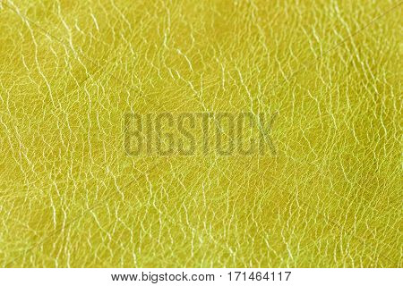 Texture of olive genuine leather close-up. For modern pattern, wallpaper or banner design. With place for your text
