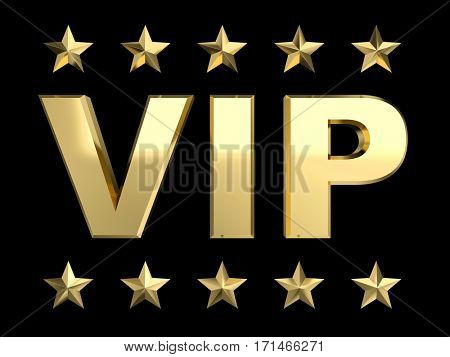 vip golden status 3d rendering image