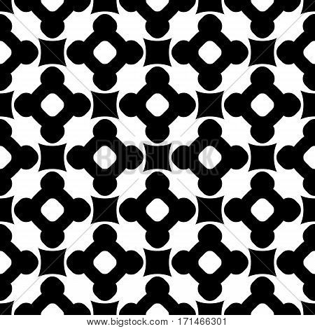Vector monochrome seamless pattern, black & white repeat ornamental texture, endless backdrop. Abstract mosaic background with simply geometric figures, flowers, cubes, circles. Contrast design element