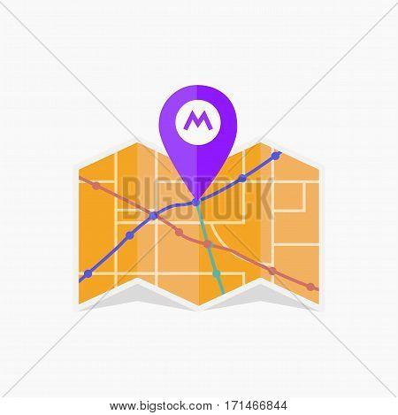 Vector metro icon. Isolated map jpg eps