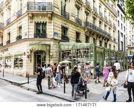 People In Front Of Laduree Shop At Champs Elysees