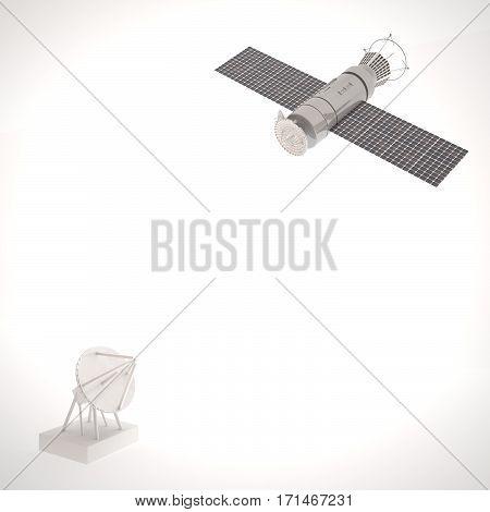Satellite And Antenna Over White