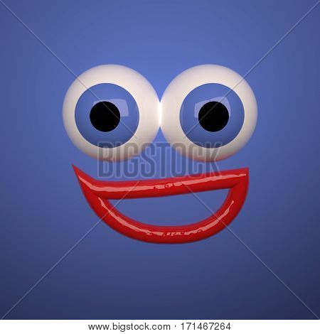 Smiling Face Over Blue Background