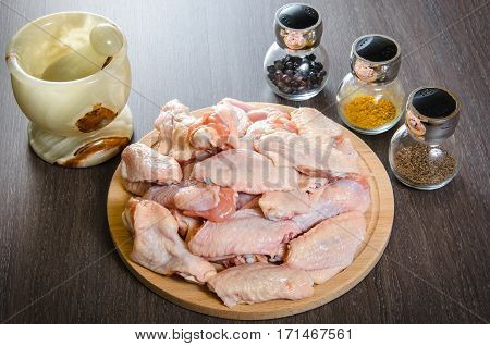 Raw chicken wings with a spices - ready for cooking