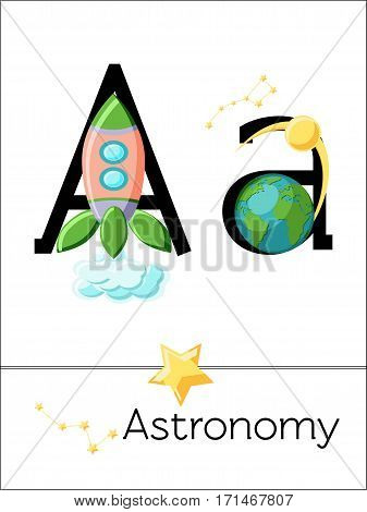 Flash card letter A is for Astronomy. Science alphabet for kids. Puzzle ABC flash cards series. Cartoon vector illustration in flat style.