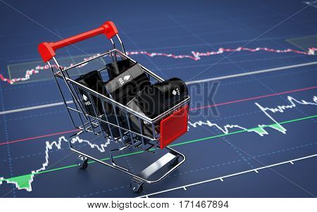 Barrels of oil in the shopping trolley. 3d render