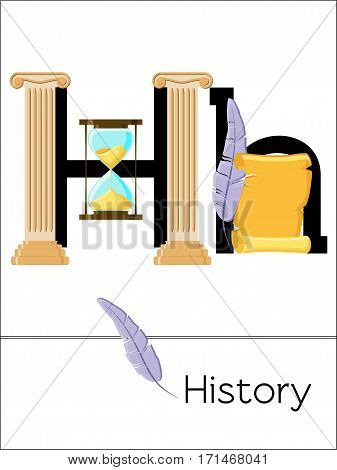 Flash card letter H is for History. Science alphabet for kids. Puzzle ABC flash cards series. Cartoon vector illustration in flat style.