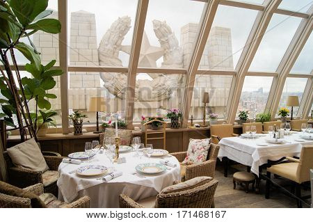 Moscow, Russia - 3 September, Star Monument outside the restaurant, 3 September, 2016. Interior design of famous Moscow restaurants.