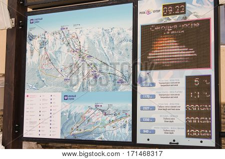 Sochi, Russia - 1 January, Map of ski slopes, 1 January, 2017. Winter mountain ski resort Rosa Khutor.