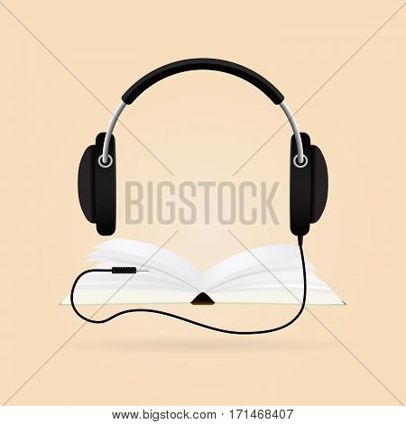 Audio-book concept. Modern techology. Headphones with books