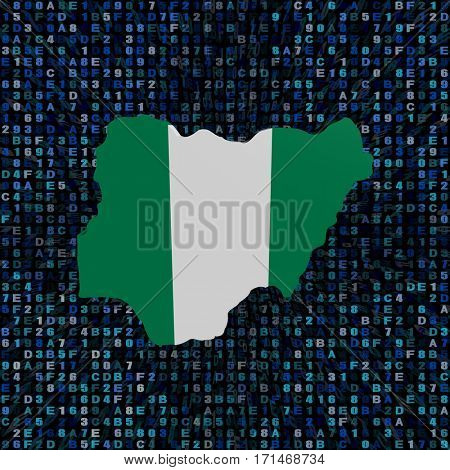 Nigeria map flag on hex code 3d illustration
