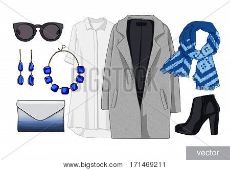 Lady fashion set of autumn, winter season outfit. Illustration stylish and trendy clothing. Coat, dress, bag, necklace, accessories, sunglasses, high heel shoes. Vector.