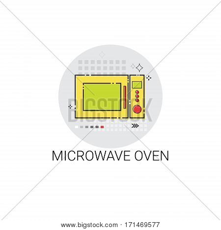 Microwave Oven Cooking Utensils Kitchen Equipment Appliances Icon Vector Illustration