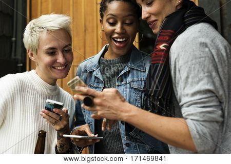 Women Use Mobile Phone Connection Social Network