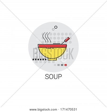 Soup Plate Cooking Utensils Kitchen Equipment Appliances Icon Vector Illustration