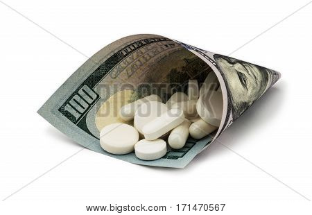 White pills with money. Health costs a lot. medicine