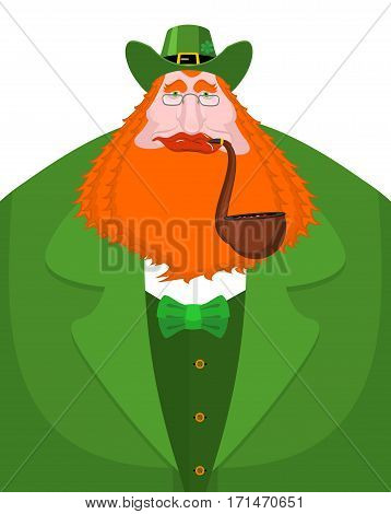 St. Patrick's Day Leprechaun With Red Beard And Pipe. Green Hat. Magic Dwarf In Ireland. National Ho