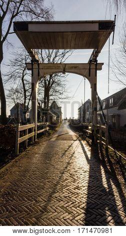 Wooden drawbridge in Durgerdam, a small village next to Amsterdam